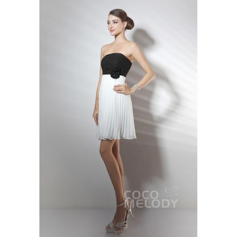 wedding, Beach A-Line Strapless Short-Mini Ivory Chiffon Graduation Dress COZK14011 - Top Designer W