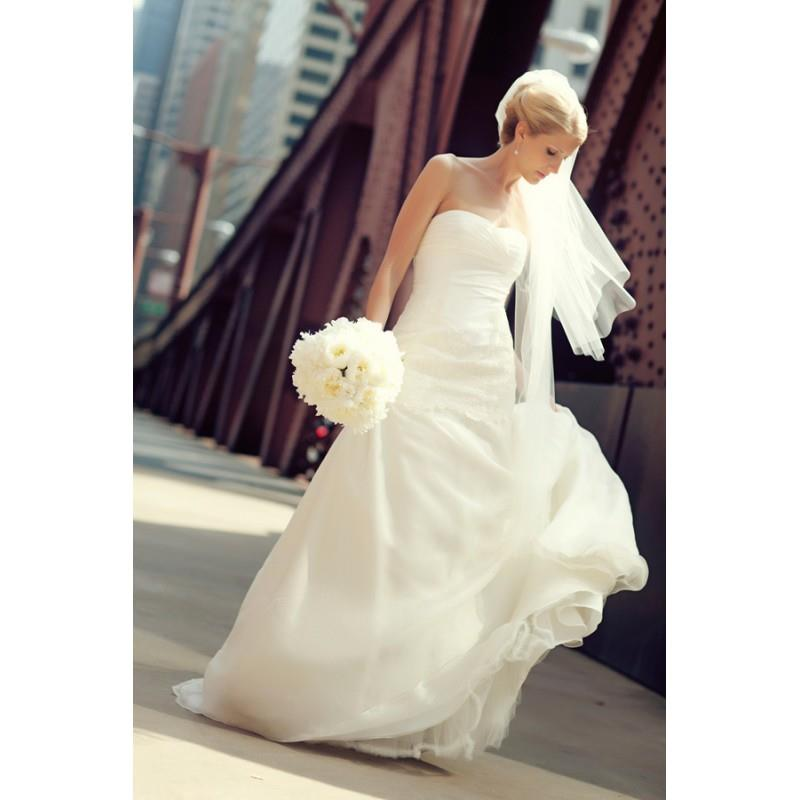 My Stuff, Elegant Wedding Dress Strapless Sweep Train Ivory Aline Sleeveless Lace Zipper Up Hall Fal