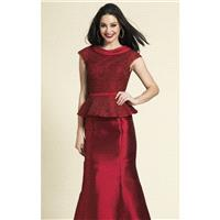 Wine Beaded Peplum Gown by Dave and Johnny - Color Your Classy Wardrobe