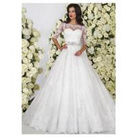 Marvelous Tulle Scoop Neckline Ball Gown Wedding Dresses With Lace Appliques - overpinks.com