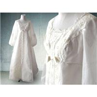 1960s Boho Wedding Gown White Organza and Lace with Pearls and Long Sleeves - Hand-made Beautiful Dr