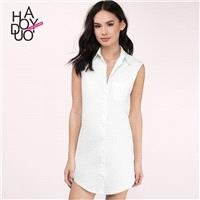 Vogue Sleeveless One Color Summer Dress Blouse - Bonny YZOZO Boutique Store