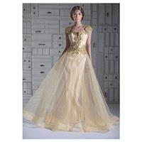 Elegant Tulle Queen Anne Neckline A-line Evening Dresses With Lace Appliques - overpinks.com