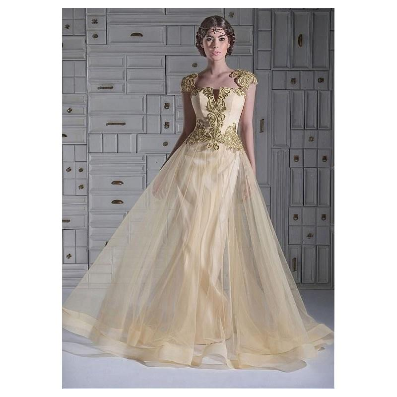 My Stuff, Elegant Tulle Queen Anne Neckline A-line Evening Dresses With Lace Appliques - overpinks.c