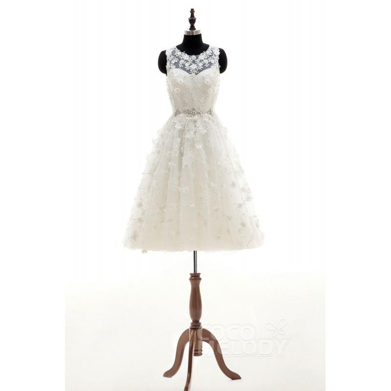 wedding, Charming A-Line Illusion Natural Knee Length Tulle Ivory Sleeveless Zipper With Buttons Wed