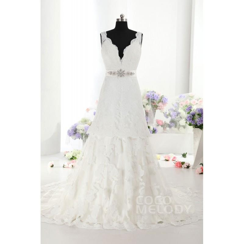 My Stuff, New Design A-Line Natural Train Ivory Sleeveless Open Back Wedding Dress with Appliques an