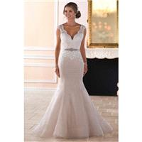 Style 6398 by Stella York - Ivory  White  Blush Lace  Tulle Belt  Low Back  V-Back Floor V-Neck Wedd