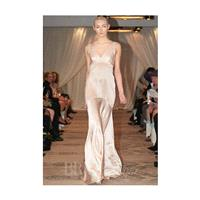 Justina McCaffrey - Fall 2014 - Angelus Blush Silk Charmeuse V-Neck Sheath Wedding Dress - Stunning