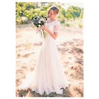 Alluring Chiffon V-neck Neckline A-line Wedding Dresses With Lace - overpinks.com