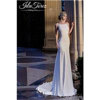 New Design Trumpet-Mermaid Bateau Natural Court Train Stretch Crepe Ivory Sleeveless Open Back Weddi