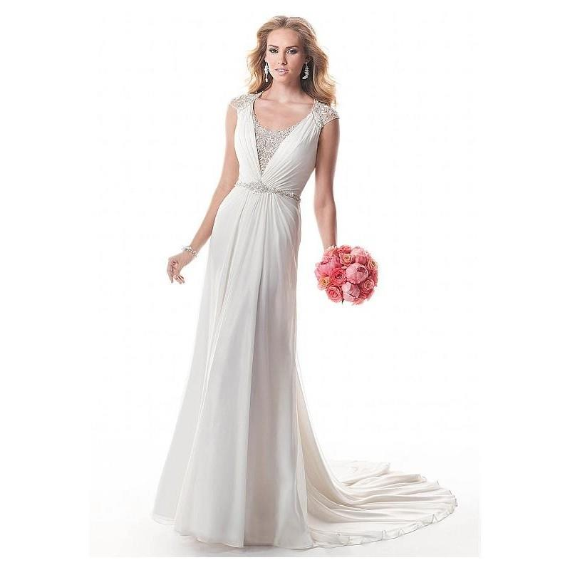 My Stuff, Charming Chiffon & Tulle A-line Scoop Neckline Natural Waistline Wedding Dress - overpinks