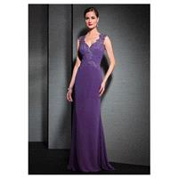 Chic Tulle & Chiffon V-Neck Sheath Formal Dresses - overpinks.com