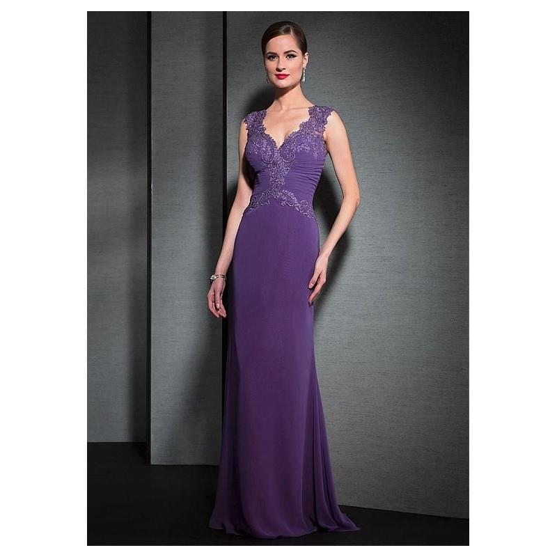 My Stuff, Chic Tulle & Chiffon V-Neck Sheath Formal Dresses - overpinks.com