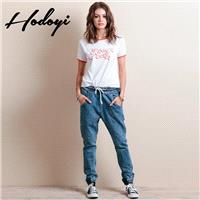 Casual Slimming Banded Waist Summer Bloomer Jeans Harem Pant Long Trouser - Bonny YZOZO Boutique Sto