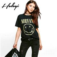 Must-have Casual Oversized Vogue Sport Style Printed Short Sleeves Cartoon Smiley Face Summer T-shir