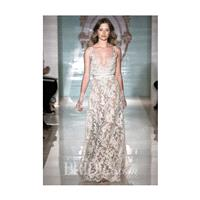 Reem Acra - Spring 2015 - V-Neck Lace A-Line Wedding Dress with a Crystal Belt - Stunning Cheap Wedd