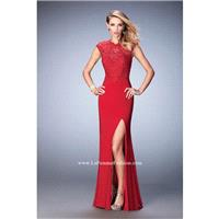 GiGi by La Femme 22585 Crimson,Navy Dress - The Unique Prom Store