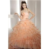 Hot Selling Ball Gown Strapless Chapel Train Organza Autumn Sunset Quinceanera Dress COJT1300E - Top