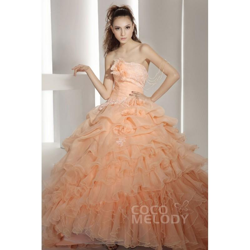 wedding, Hot Selling Ball Gown Strapless Chapel Train Organza Autumn Sunset Quinceanera Dress COJT13