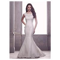 Charming Tulle & Satin Mermaid Jewel Neckline Natural Waistline Wedding Dress With Lace Appliques -
