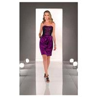 Stunning Lace & Stretch Satin Strapless Neckline Knee-length Sheath Homecoming Dress - overpinks.com