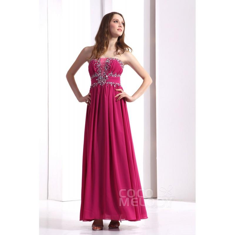 My Stuff, Impressive Sheath-Column Strapless Floor Length Chiffon Fandango Pink Evening Dress COZF13