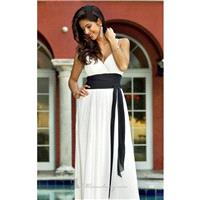 Ivory/Black Pleated V Neckline Gown by Alexia Designs - Color Your Classy Wardrobe