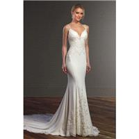 Style 828 by Martina Liana - Ivory  White Crepe  Lace Illusion back Floor Sweetheart  Plunge  Straps