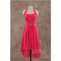 Cute Sheath-Column Halter Natural Short-Mini Chiffon Fandango Pink Sleeveless Side Zipper Party Dres