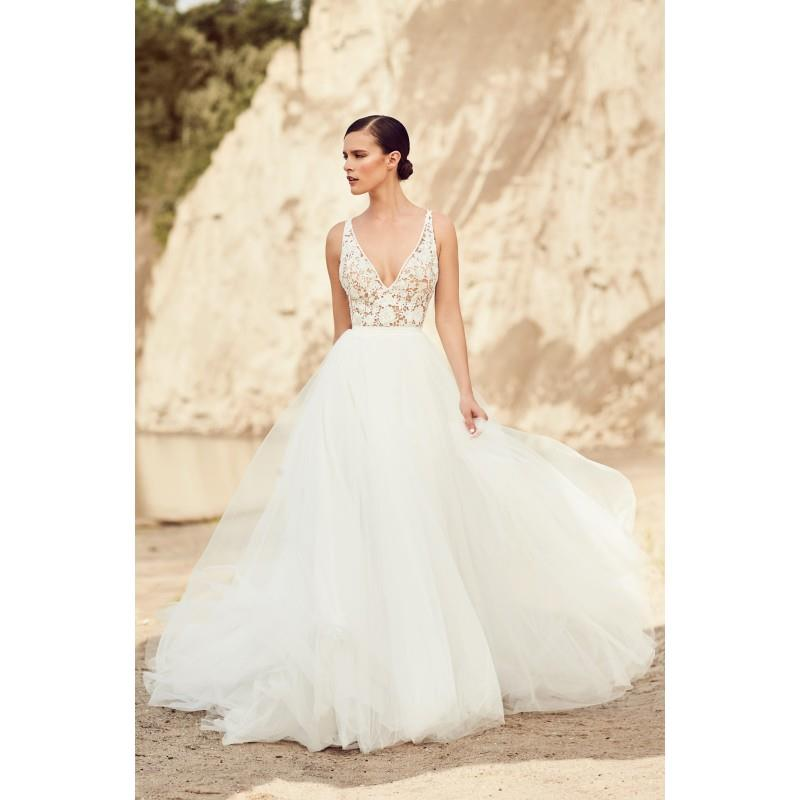 wedding, Mikaella Spring/Summer 2017 2106 Ball Gown V-Neck Appliques Tulle Sleeveless Sweet Ivory Ch