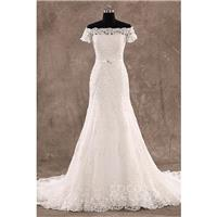 Charming Sheath-Column Off the Shoulder Natural Court Train Lace Ivory Zipper With Buttons Wedding D