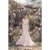 Snow by Annasul Y. 2017 sa3262b Tulle Chapel Train Open Back Ivory Mermaid Queen Anne Sleeveless App
