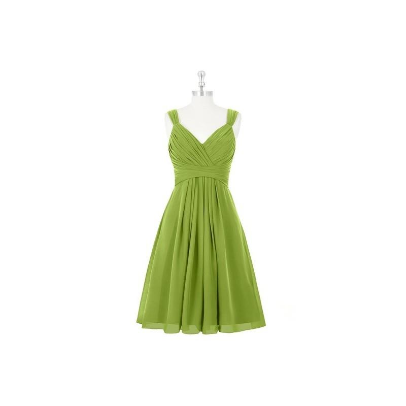My Stuff, Clover Azazie Clara - V Neck Chiffon Knee Length Back Zip Dress - Charming Bridesmaids Sto