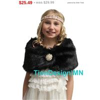 Girl Kid Black Faux Fur Wrap, Kid fur shrug, faux fur shawl - Hand-made Beautiful Dresses|Unique Des