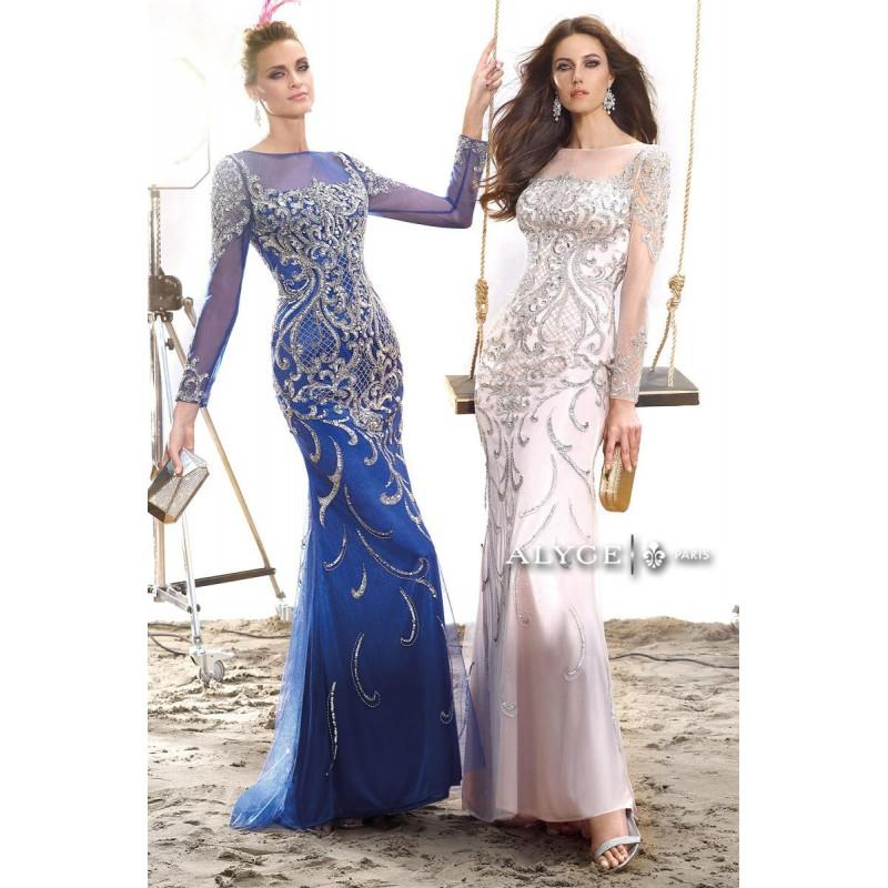 My Stuff, Alyce Claudine 2439 Long Sleeve Formal Dress - Brand Prom Dresses|Beaded Evening Dresses|C