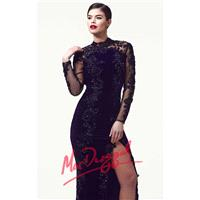 Beaded Long Sleeve Gownby Mac Duggal Black White Red 61788R - Bonny Evening Dresses Online