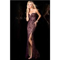 Scala 48551 Navy/Nude,Wine Dress - The Unique Prom Store