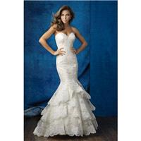 Style 9358 by Allure Bridals - Sweetheart Lace Floor length Mermaid Sleeveless Chapel Length Dress -