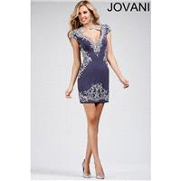 Jovani 27512 Short Dress Cutout Bodice Cap Sleeves V-Back - Short and Cocktail Jovani Fitted V Neck
