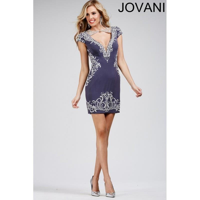 My Stuff, Jovani 27512 Short Dress Cutout Bodice Cap Sleeves V-Back - Short and Cocktail Jovani Fitt