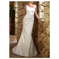 Graceful Stretch Satin Sheath One Shoulder Neckline Asymmetrical Waist Beaded Appliques Wedding Dres