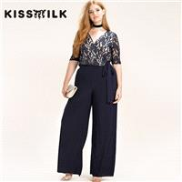 Plus size sexy lace women's fall fashion mosaic slim wide-leg pants jumpsuit - Bonny YZOZO Boutique