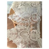 Gorgeous Alencon Lace Trim in champagne Cream with Gold Thread for Wedding Gown, Bridal Accessories,