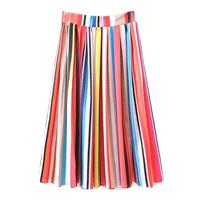 Must-have Vogue Pleated Satin Rainbow Mid-length Skirt Skirt - Lafannie Fashion Shop
