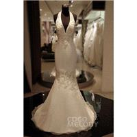 Hot_Selling Trumpet-Mermaid Halter Court Train Organza Ivory Sleeveless Backless Wedding Dress with