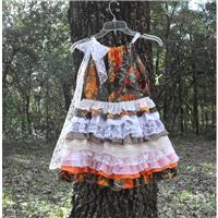 Camo fabric dress Made to order- camo and lace. Size 18m to 10. Contact me for measurements - Hand-m