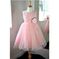 Flowergirl Coral Silk Multi Layer Dress (0006) - Hand-made Beautiful Dresses|Unique Design Clothing
