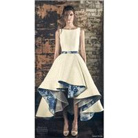 Sareh Nouri Fall/Winter 2018 Esme Asymmetrical High Low Ball Gown Bateau Printing Satin Sleeveless W
