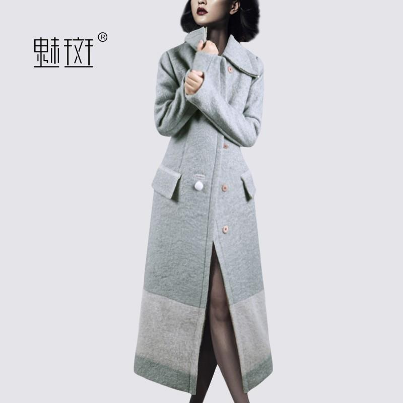 wedding, 2017 winter clothes New Women's Plus Size slim elegant splicing woolen coat and long sectio