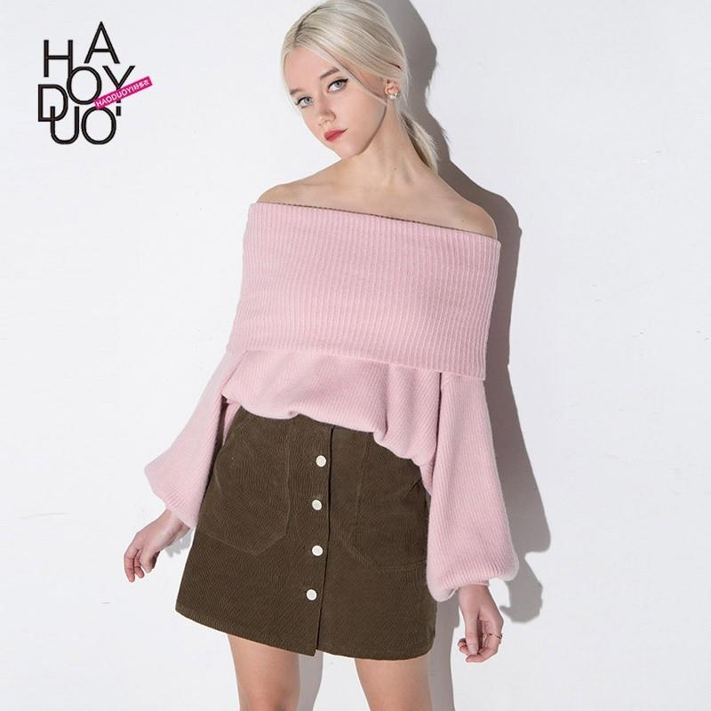 My Stuff, End of autumn and winter ladies ' knitted shirts slim sexy neck strapless fashion Lantern